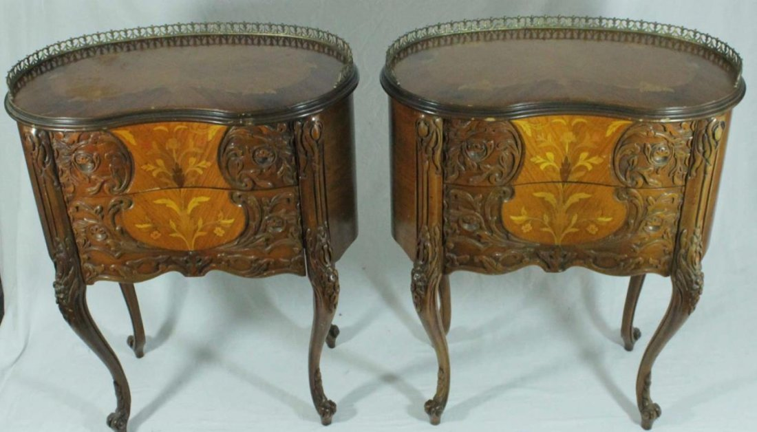 PAIR OF FRENCH STYLE MARQUETRY INLAID END TABLES - 6
