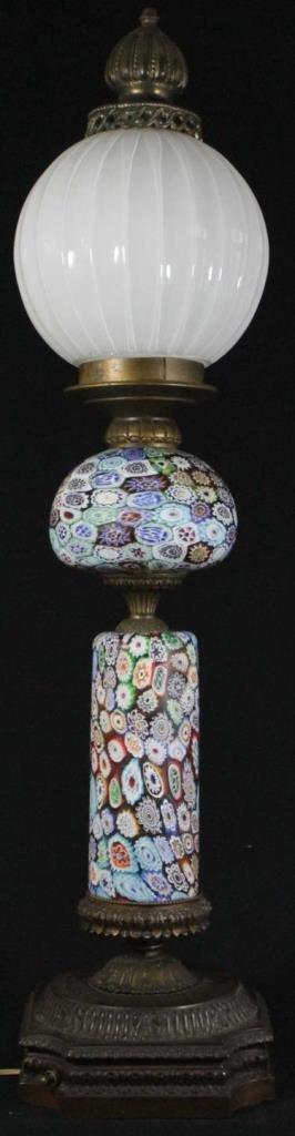 VINTAGE MILLEFIORI ART GLASS FLORAL LAMP