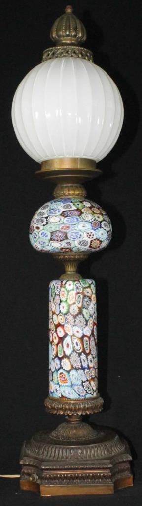 VINTAGE MILLEFIORI ART GLASS FLORAL LAMP - 2