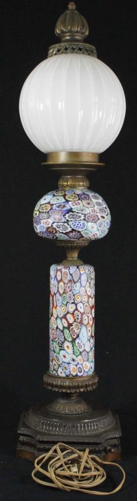 VINTAGE MILLEFIORI ART GLASS FLORAL LAMP - 3