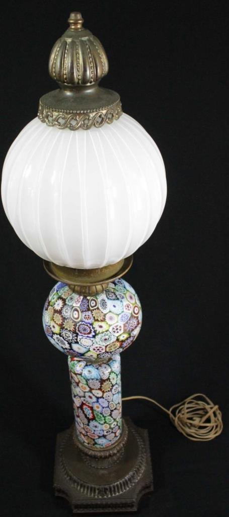 VINTAGE MILLEFIORI ART GLASS FLORAL LAMP - 5