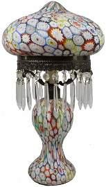 VINTAGE MILLEFIORI ART GLASS FLORAL PRISM LAMP