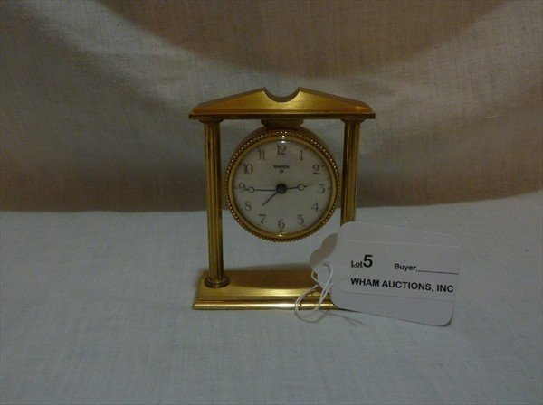5: Mint Condition Swiza Alarm Clock in Brass