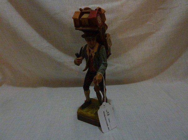 """13: Molded Resin Figurine on Wood Base 11"""" Tall"""