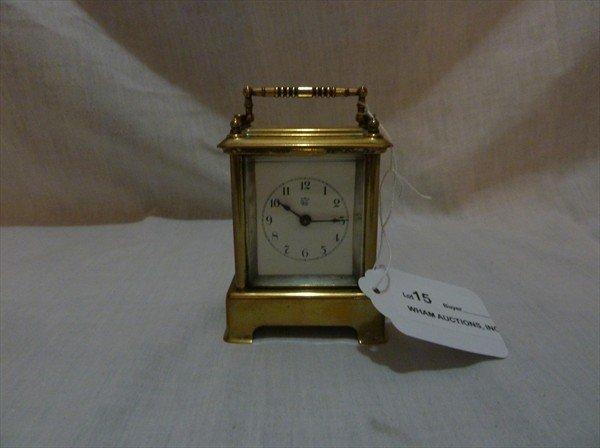15: Miniature Waterbury Carriage Clock w/ Bell Alarm