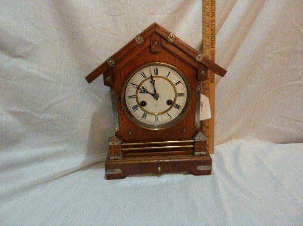 286: Bird Cage Clock in Oak Case by Junhans Germany