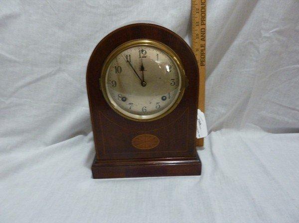 298: Ansonia Clock in Mahogany Case w/ Inlay Medallion