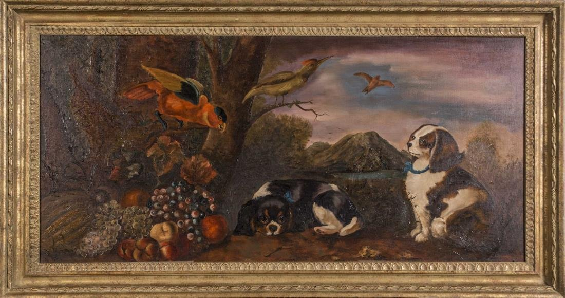 Painting of Dogs and Birds