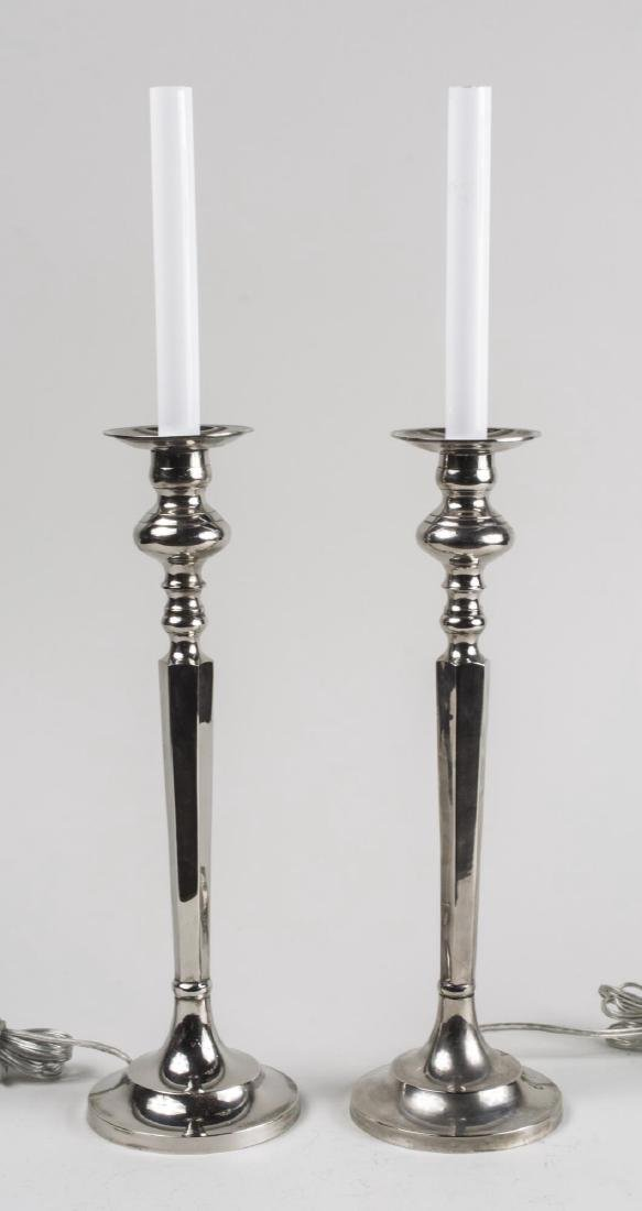Pair of Silver Plated Candlestick Lamps
