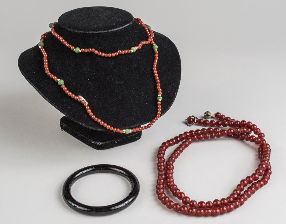 Two Necklaces and an Onyx Bangle