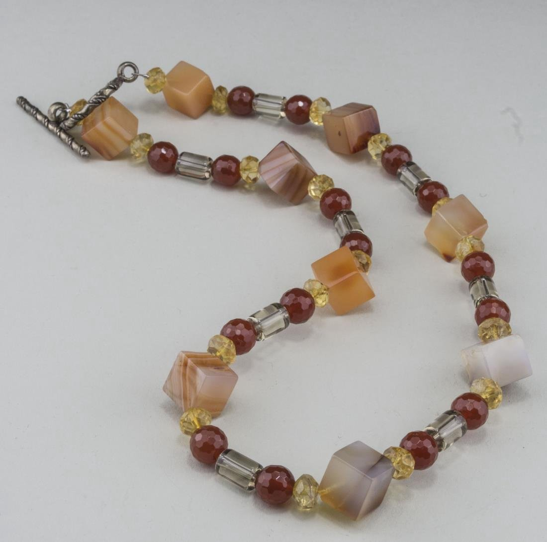 Carnelian and Rock Crystal Bead Necklace