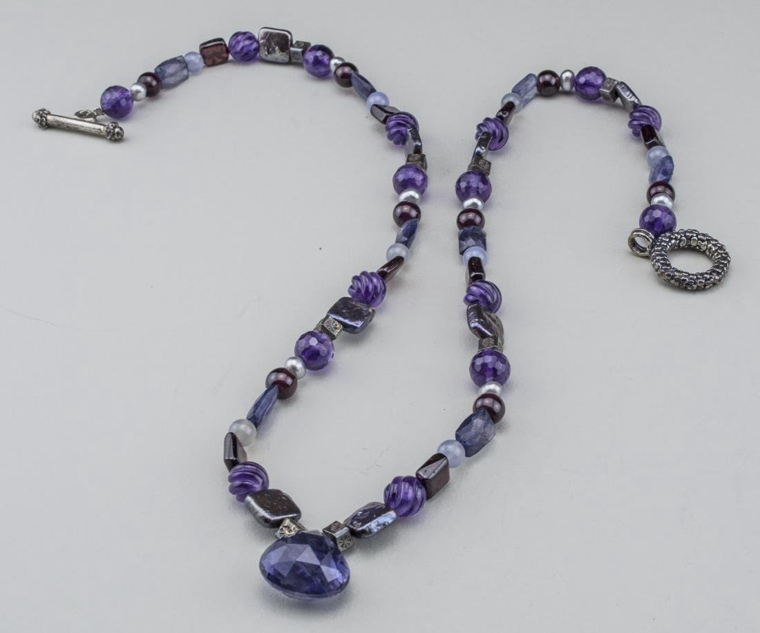 Amethyst and Abalone Bead Pendant Necklace