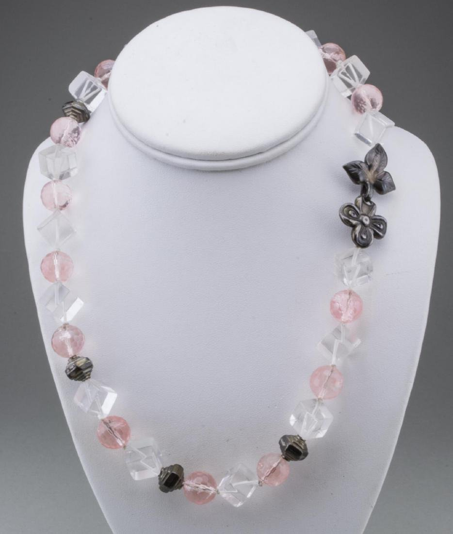 Rose Quartz, Rock Crystal and Silver Bead Necklace