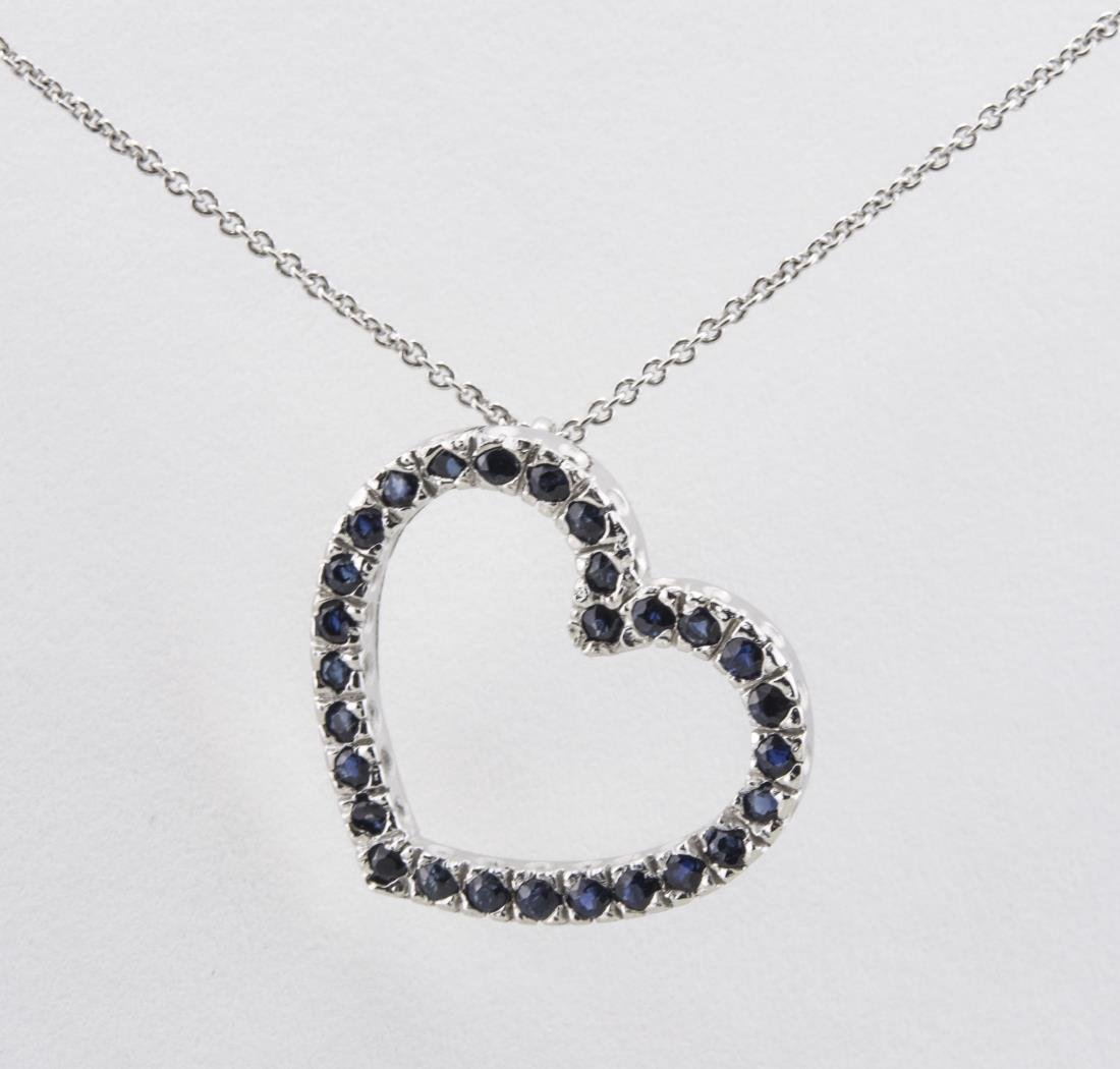 Sapphire Heart Pendant and Chain
