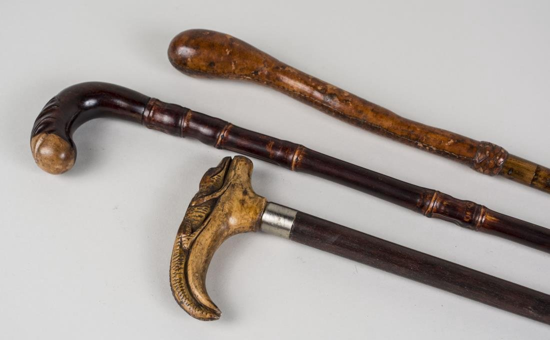 Three Vintage Walking Sticks