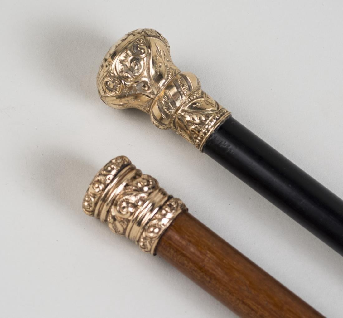 Two Gold Filled Handle Walking Sticks