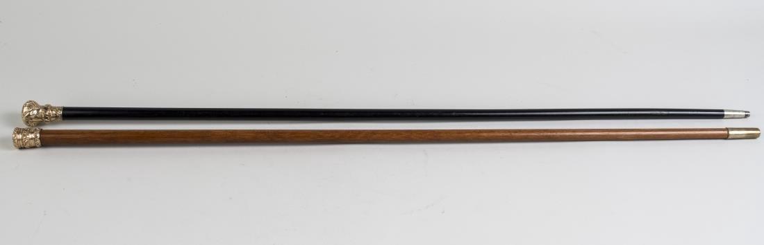 Two Gold Filled Handle Walking Sticks - 2