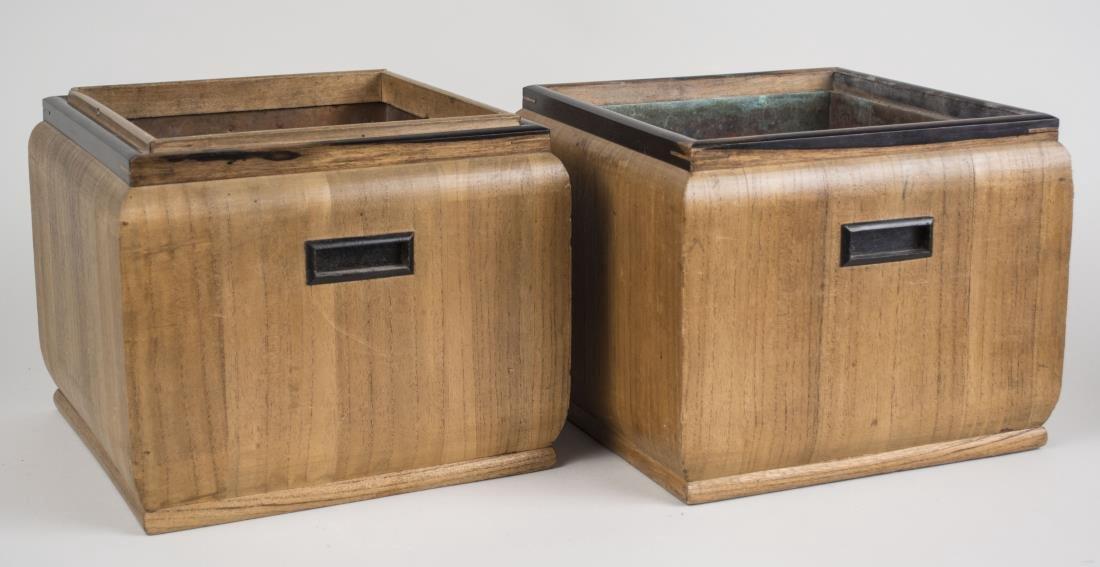 Pair of Wood Jardinieres