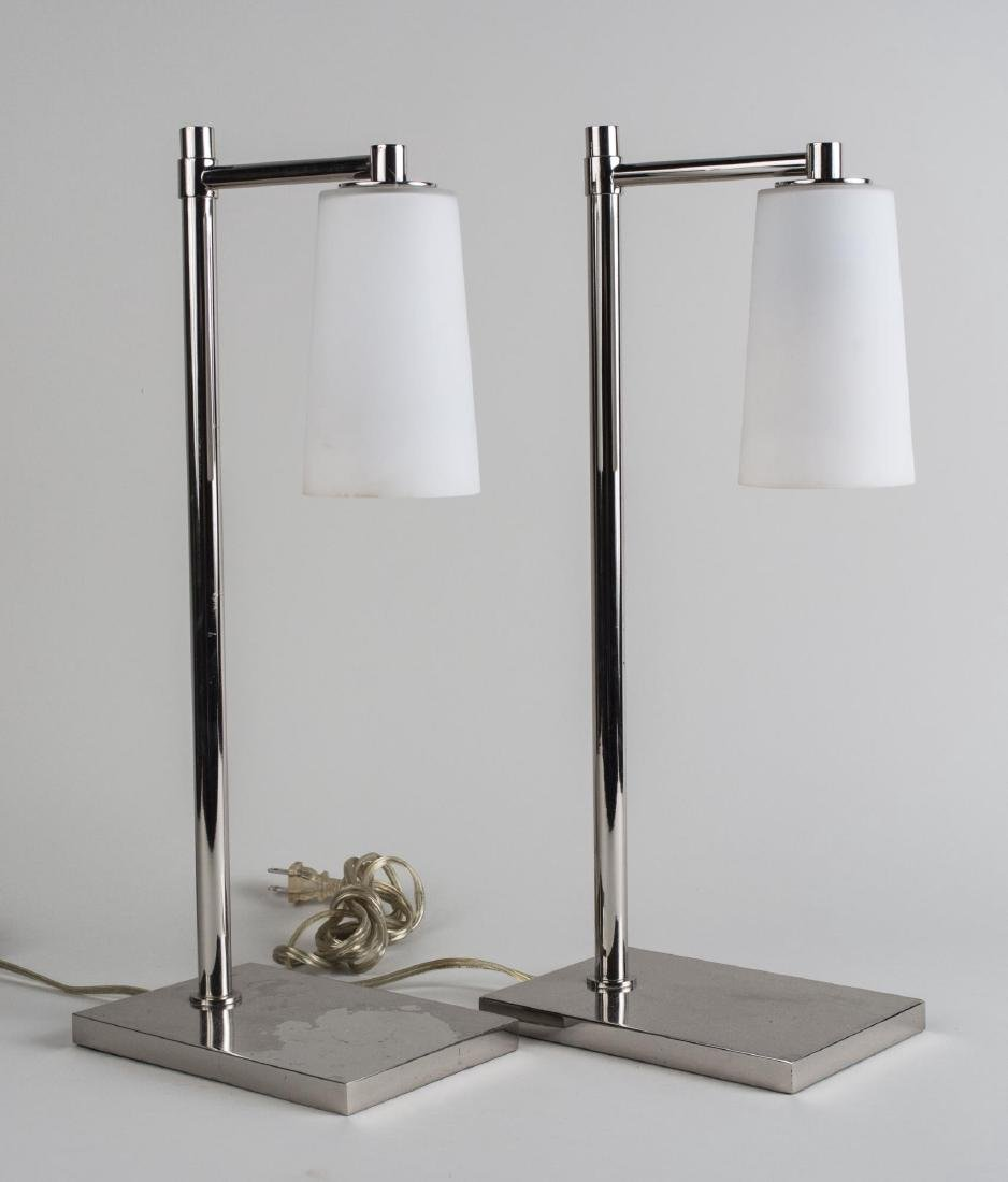 Pair of Contemporary Chrome Lamps