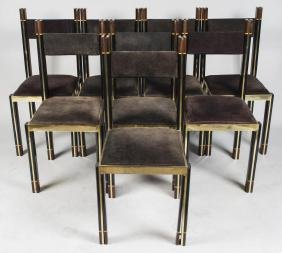 Eight Contemporary Black Lacquered Dining Chairs