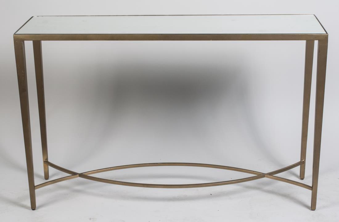 Mirror Top Metal Console Table