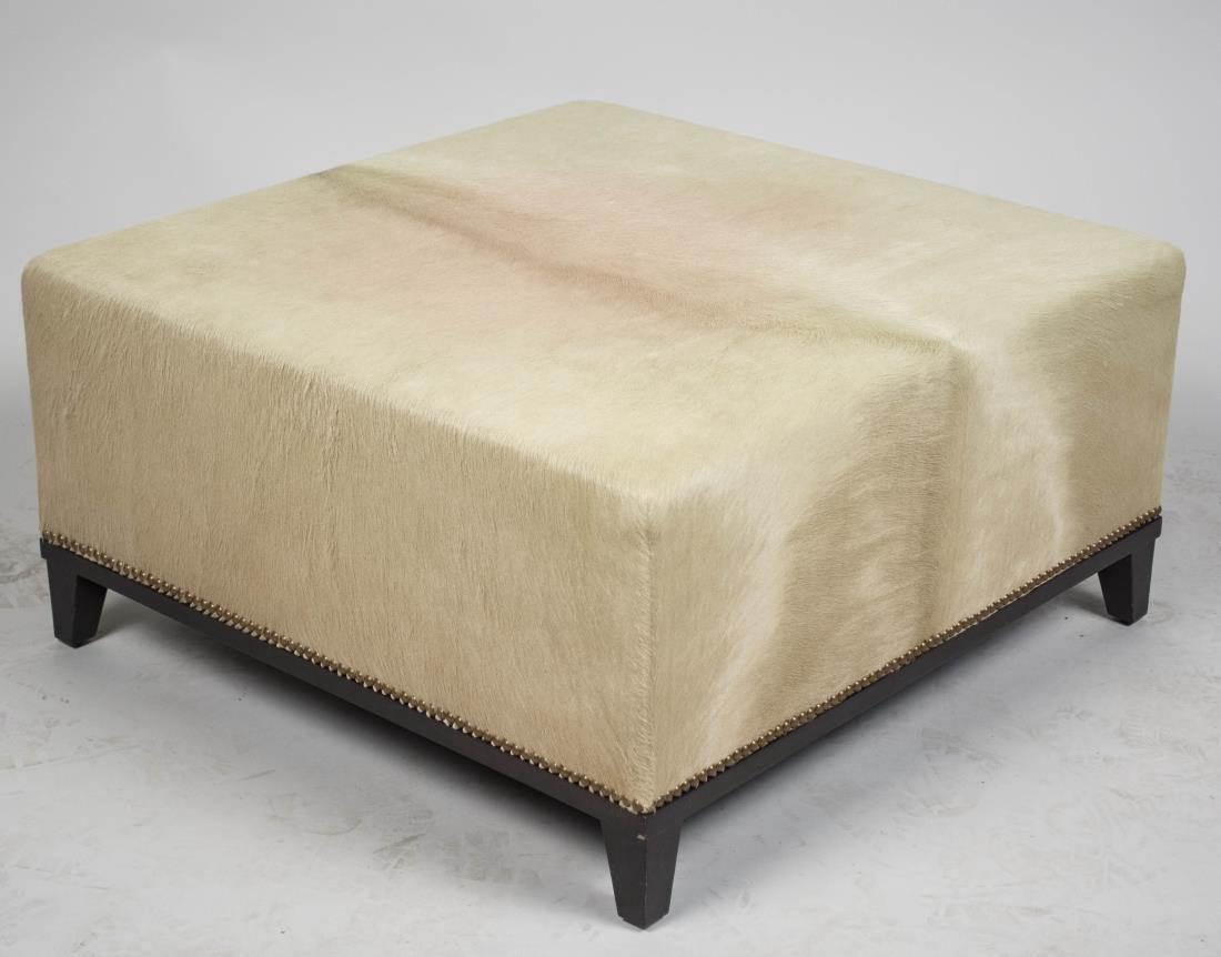 Animal Hide Upholstered Ottoman