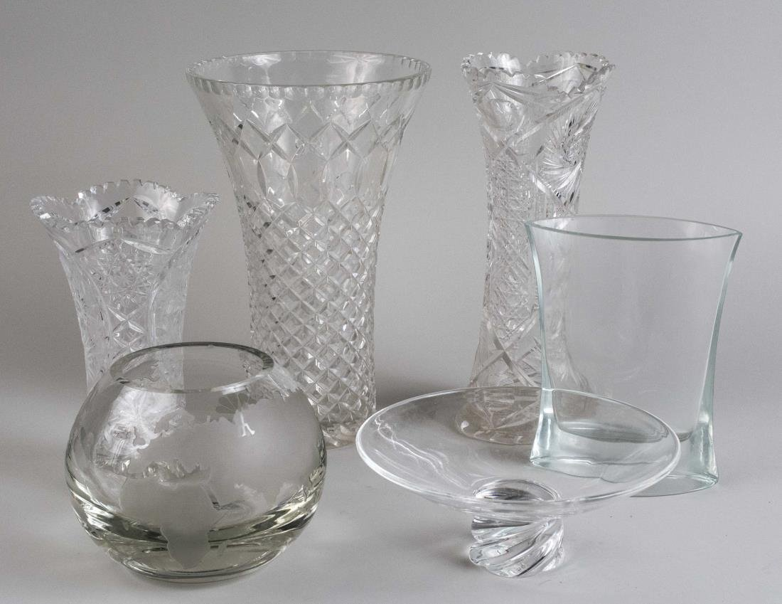 Colorless Glass Vases and Bowl