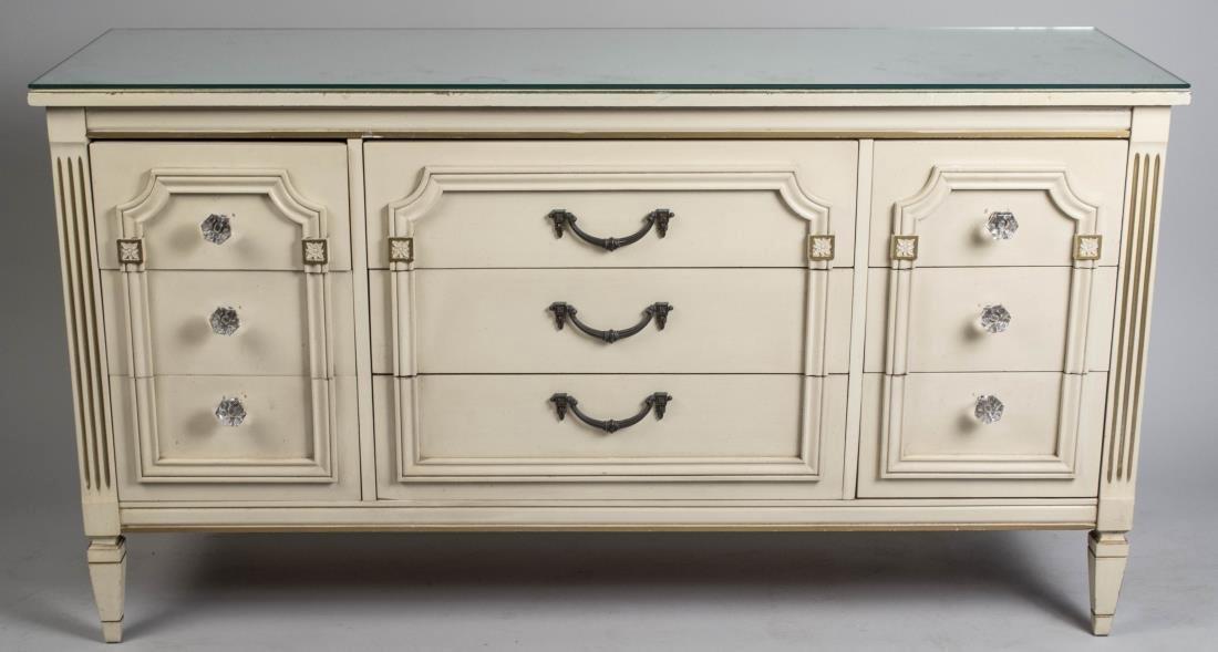 Mirror Top Cream Painted Triple Dresser