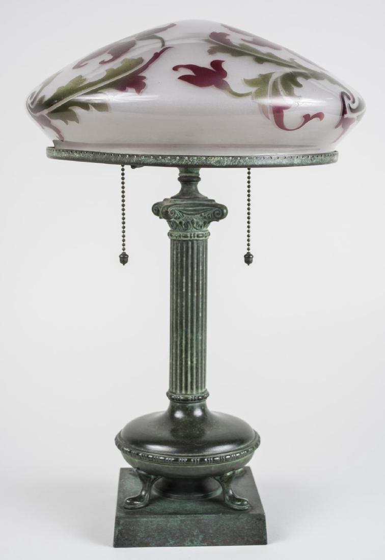 Handel Patinated Metal Column Lamp
