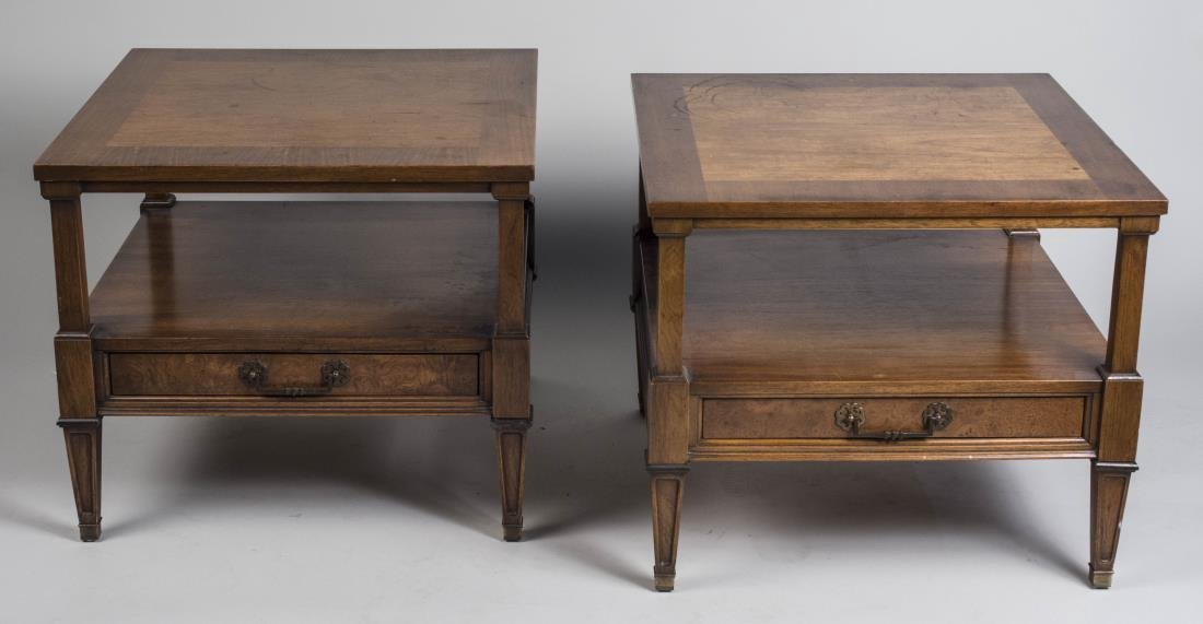 Pair of Two Tier Fruitwood End Tables
