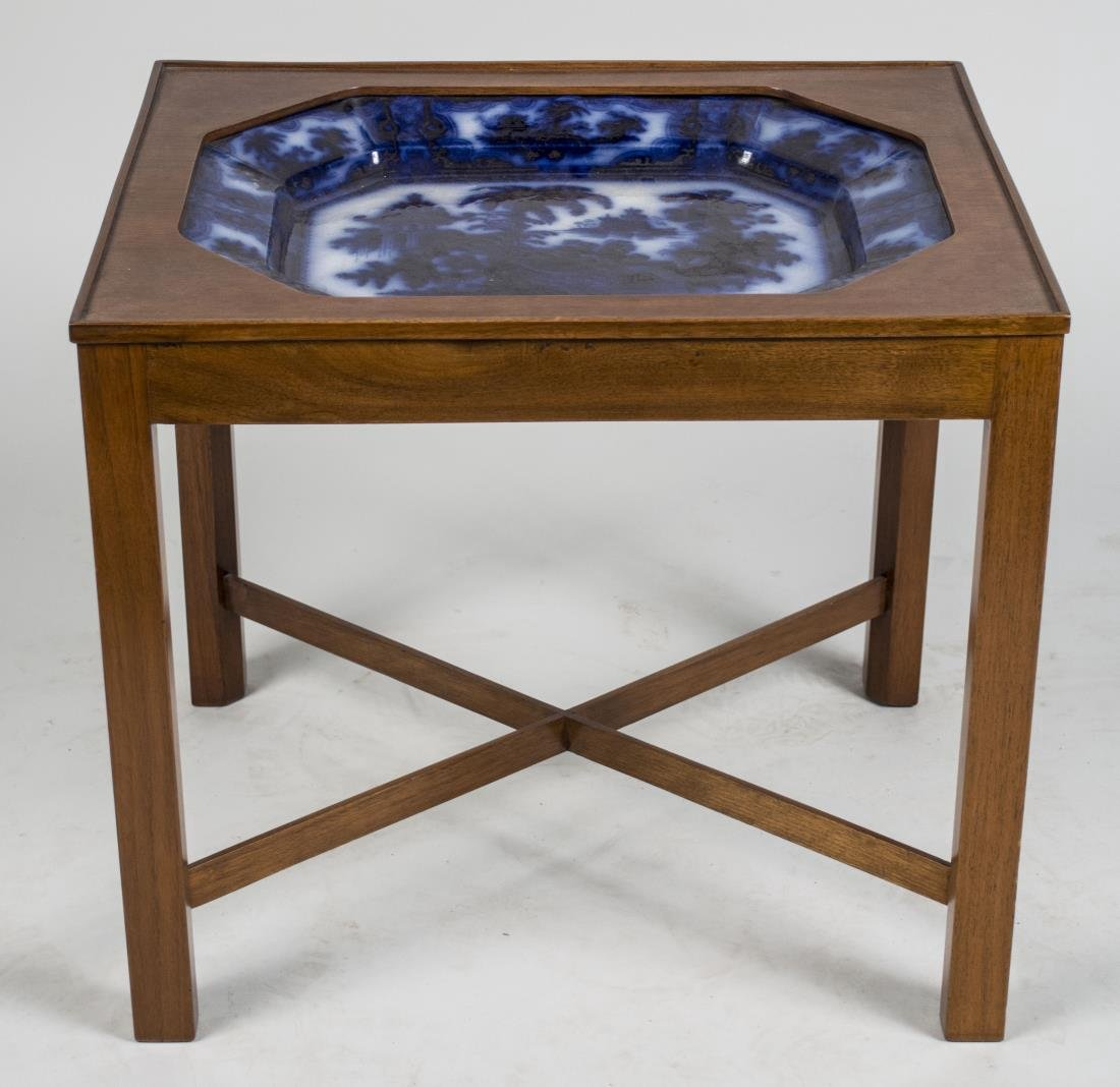 Flow Blue Ceramic Tray Table