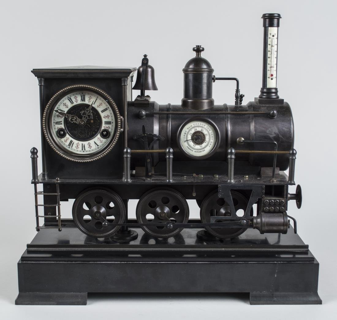 Bronze Train Clock and Weather Station