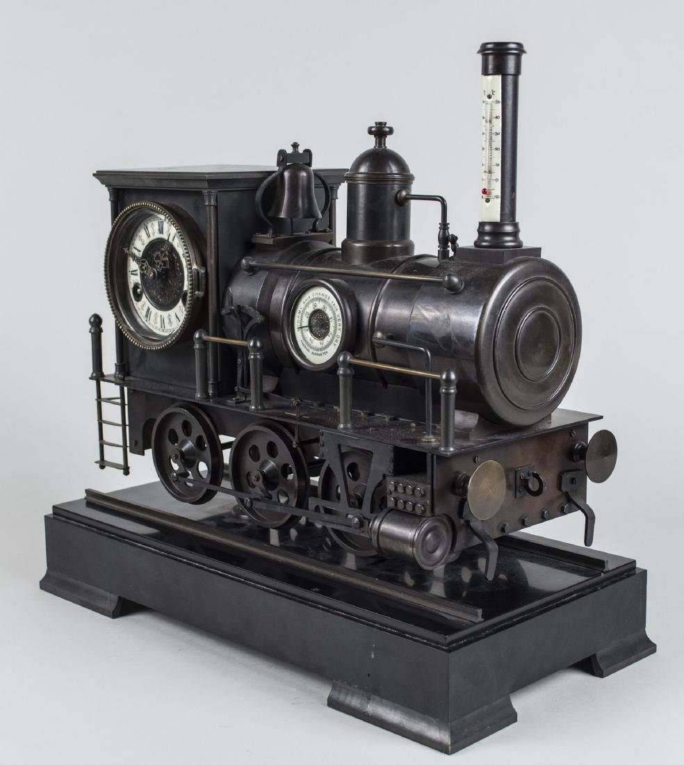 Bronze Train Clock and Weather Station - 5