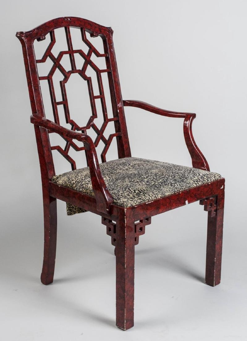 Chinese Chippendale Style Open Armchair