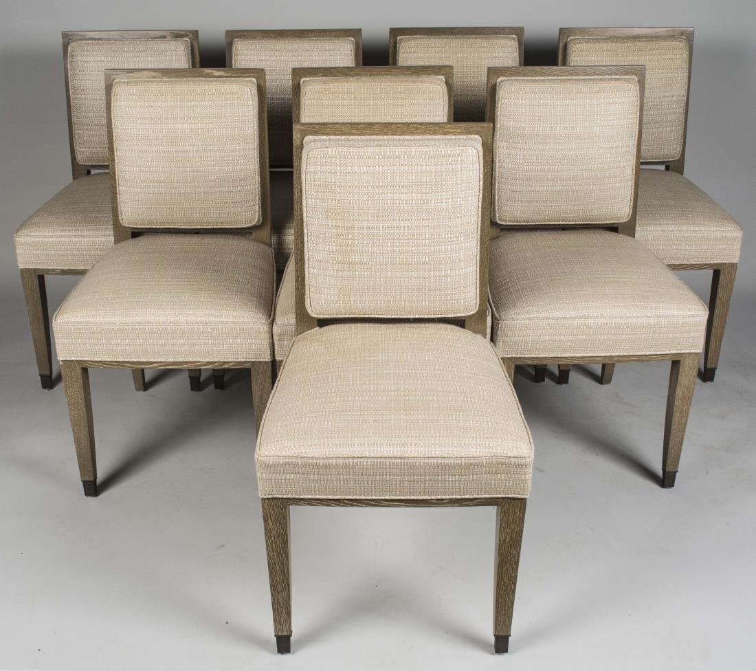 Set of Eight Cerused Oak Dining Chairs