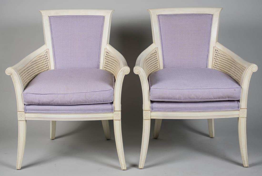 Pair of Ethan Allen White Painted Armchairs