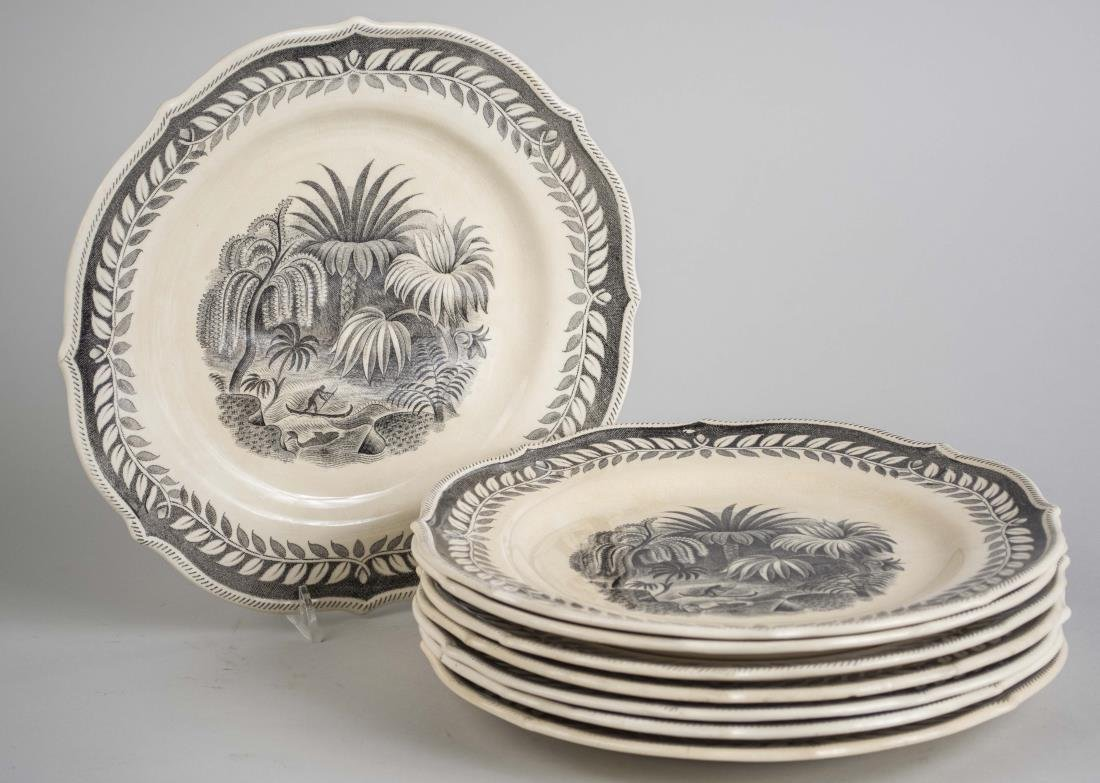 Set of Eight Swedish Pottery Dinner Plates