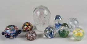 Group of Nine Glass Paperweights