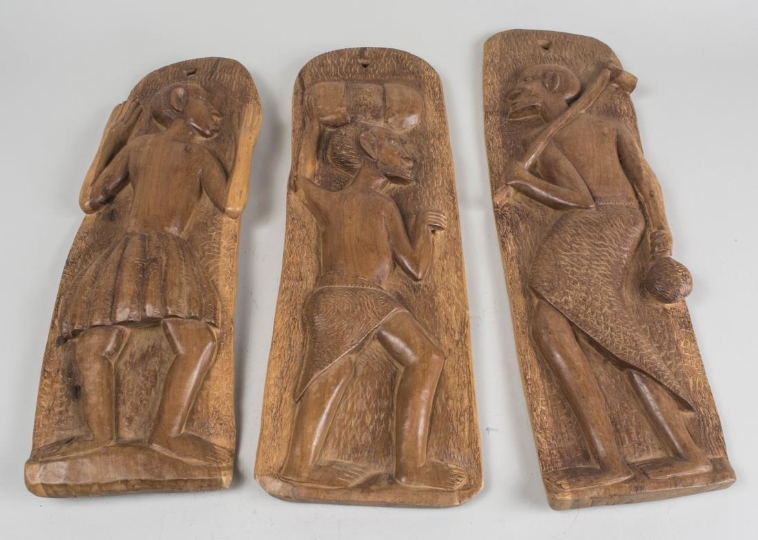 Three African Carved Wood Panels