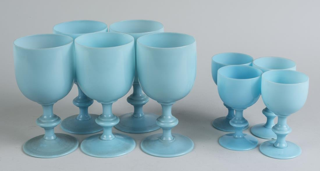 Nine Blue Opaline Glass Stemware Articles