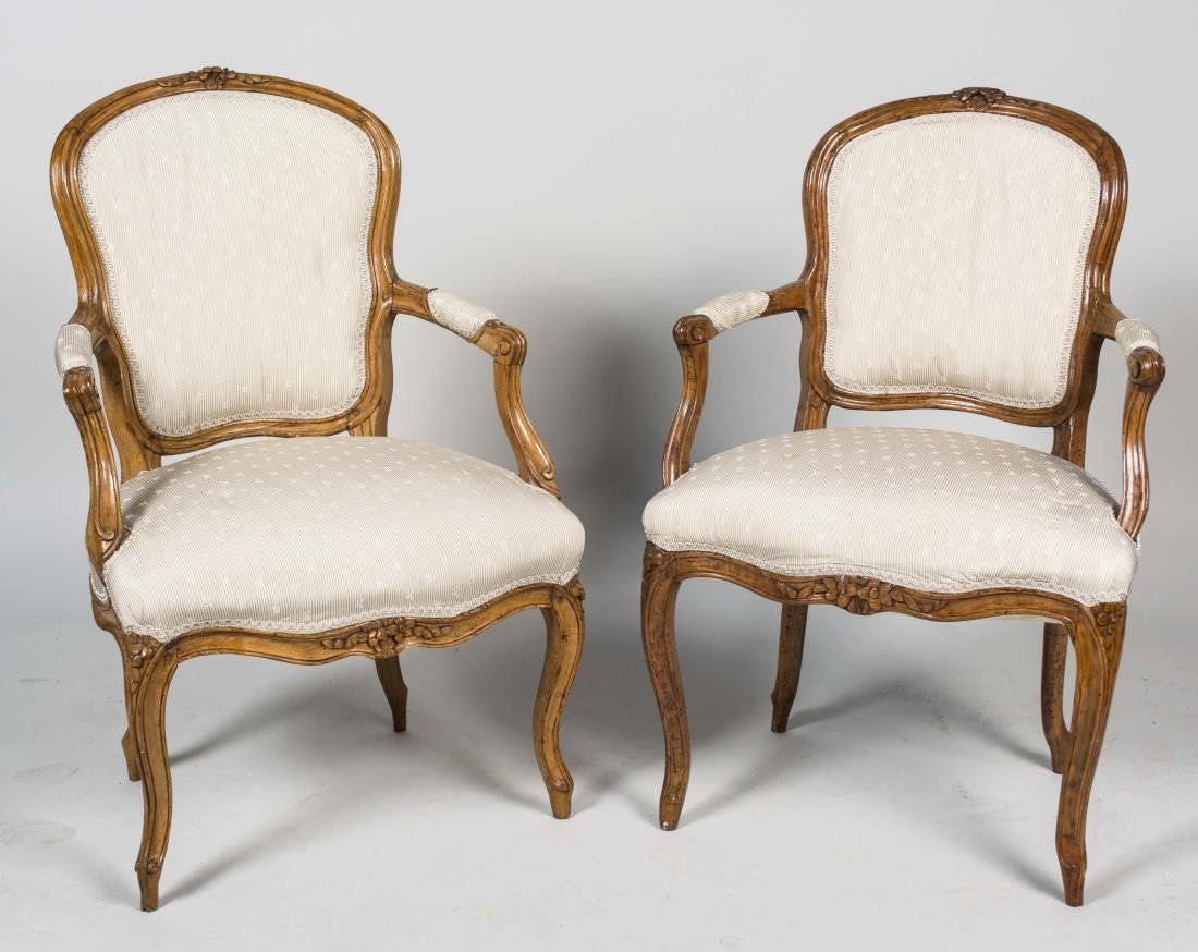 Near Pair of Louis XV Style Fauteuils