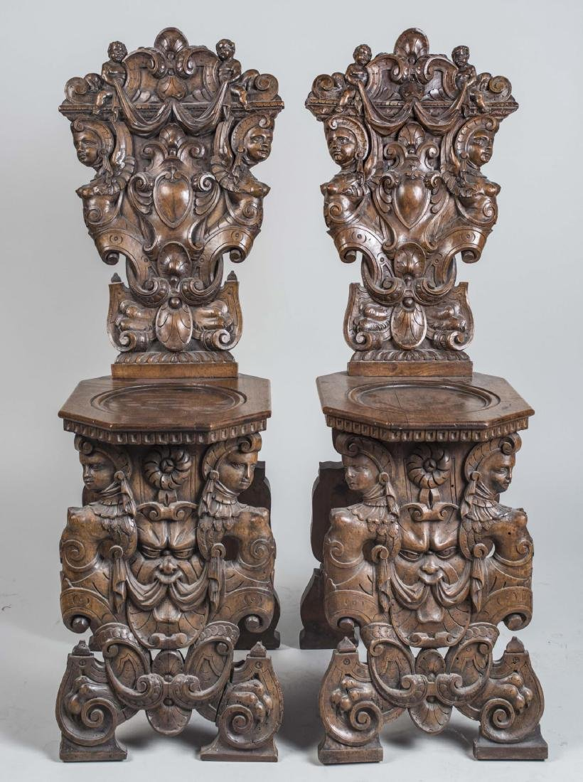 Pair of Italian Carved Hall Chairs