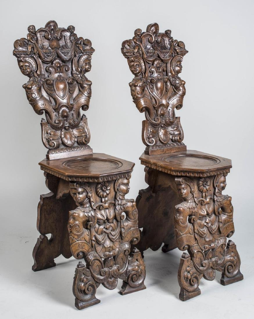Pair of Italian Carved Hall Chairs - 2