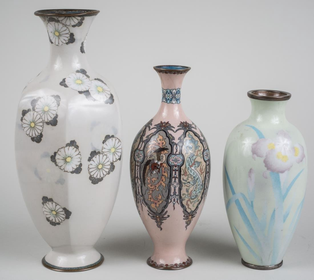 Three Chinese Cloisonne Vases
