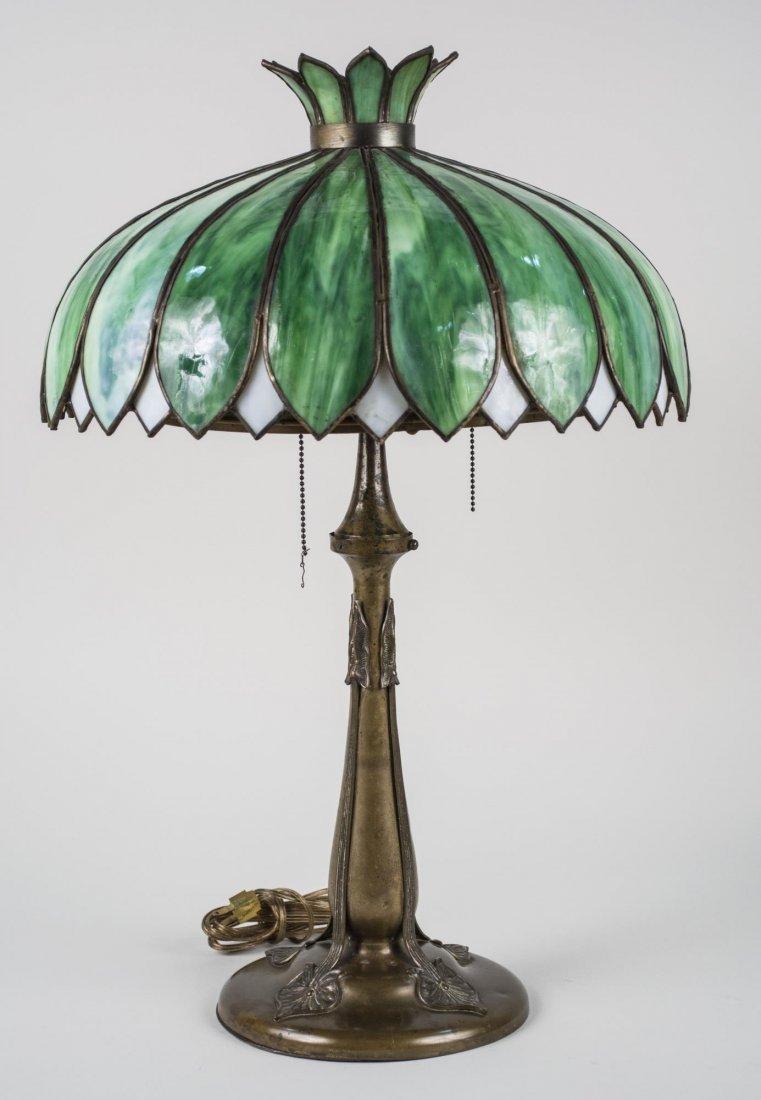 Art Nouveau Style Leaded Glass Lamp