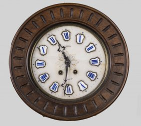 French Walnut Wall Clock