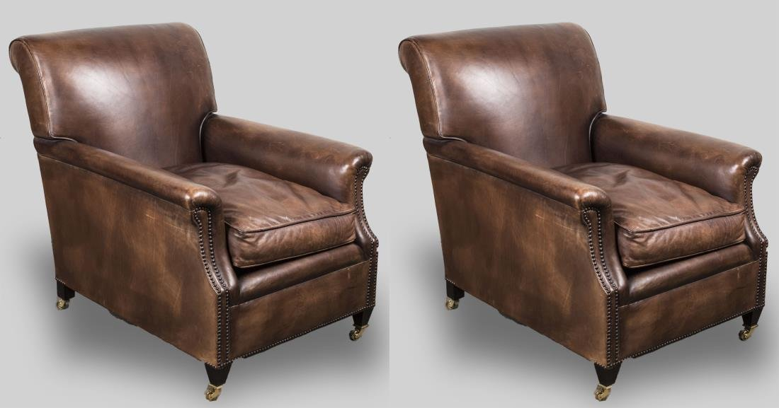 Pair of George Smith Leather Club Chairs