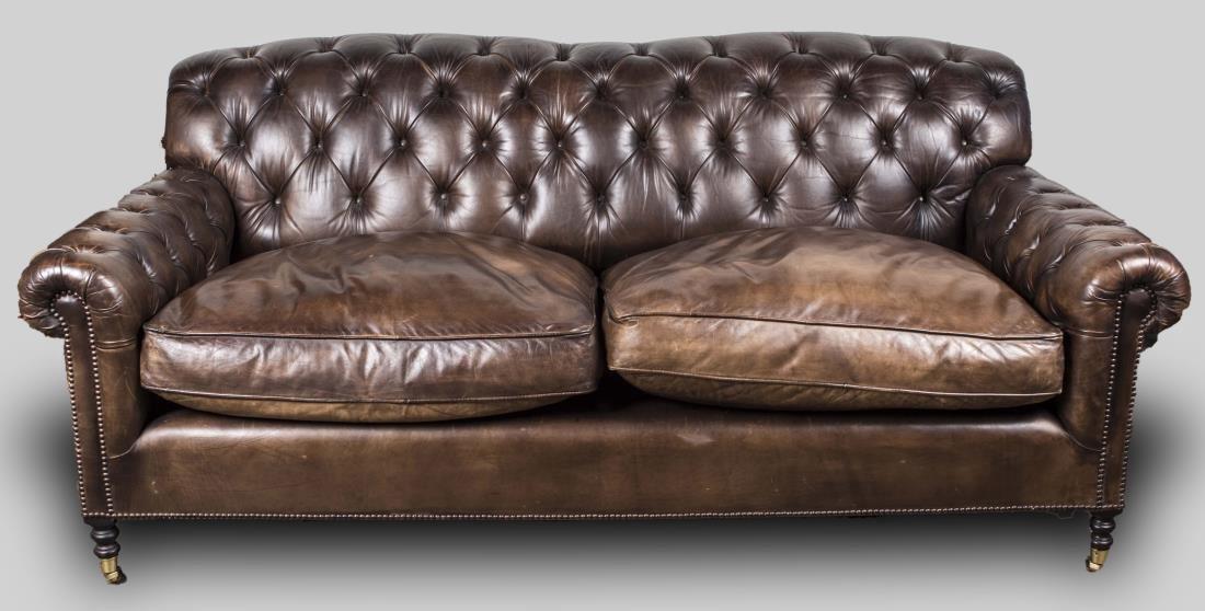 George Smith Tufted Leather Sofa