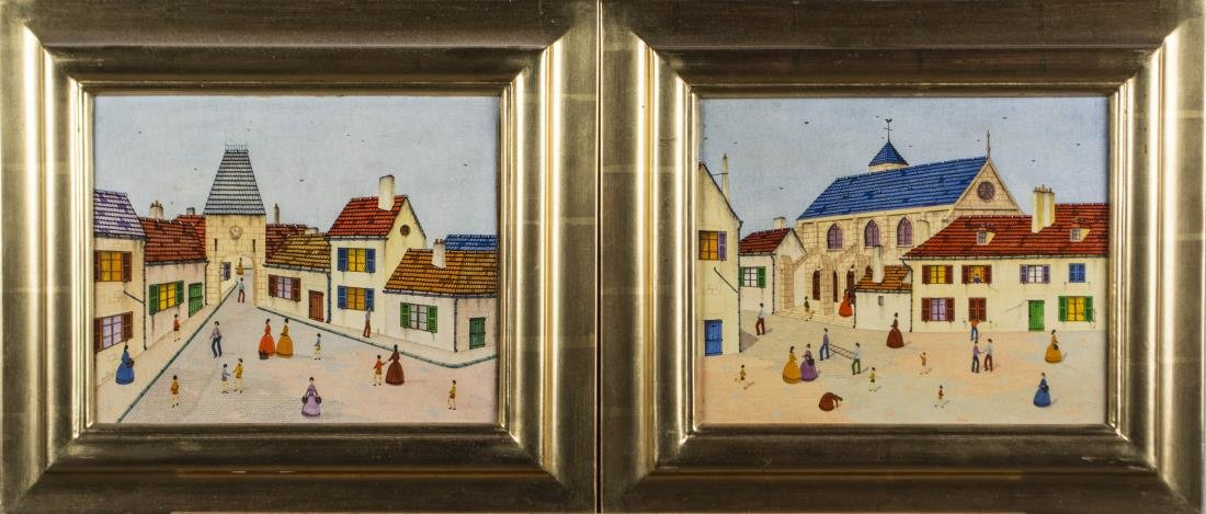 Pair of Primitive Style Paintings of Towns
