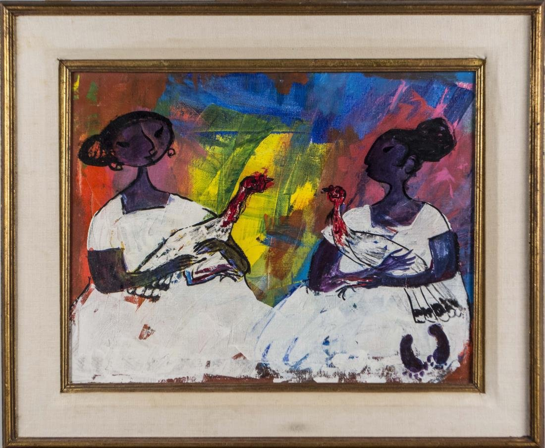 Abstract Painting of Two Women Holding Chickens